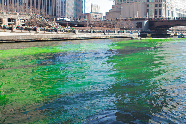 "Dyeing the Chicago River green may not look ""healthy,"" but since 1996, they've been using a fairly environmentally friendly veggie-based dye. Photo by Steve Hardy."