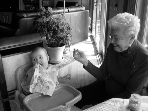 Szaba with her Great Grandma Shirley at Easter two years ago.