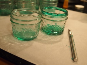 Tinted Mason Jar Exacto Knife Rims