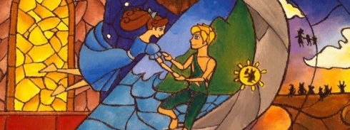© Peter Pan and Wendy Stained Glass by VanillaKeyblade